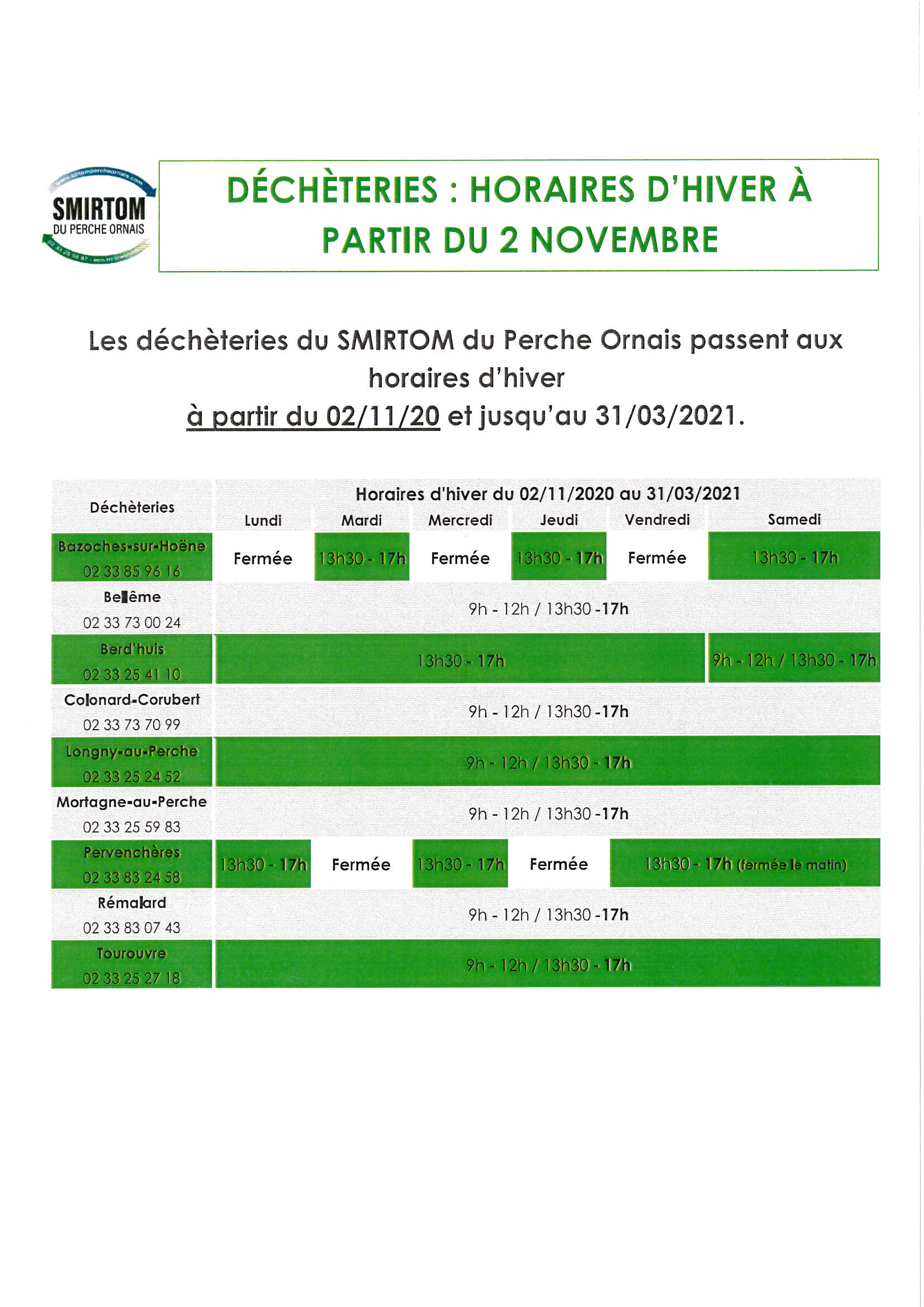 SIRTOM HORAIRE HIVER